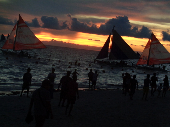 sunset on the beach in boracay
