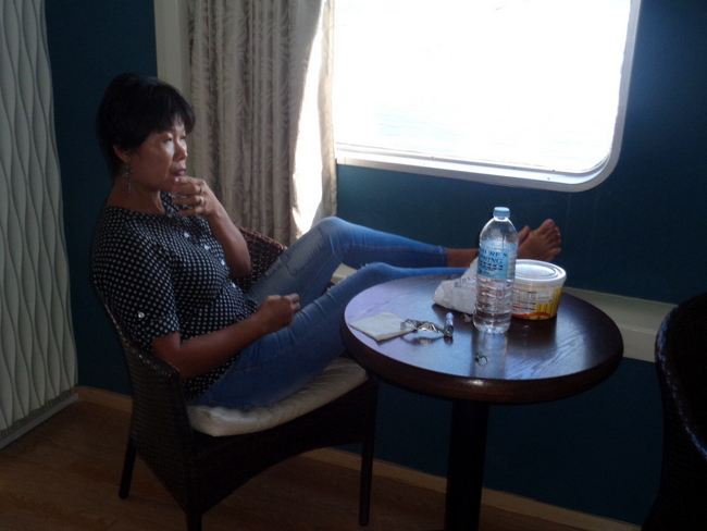 relaxing in our 2go cabin suite