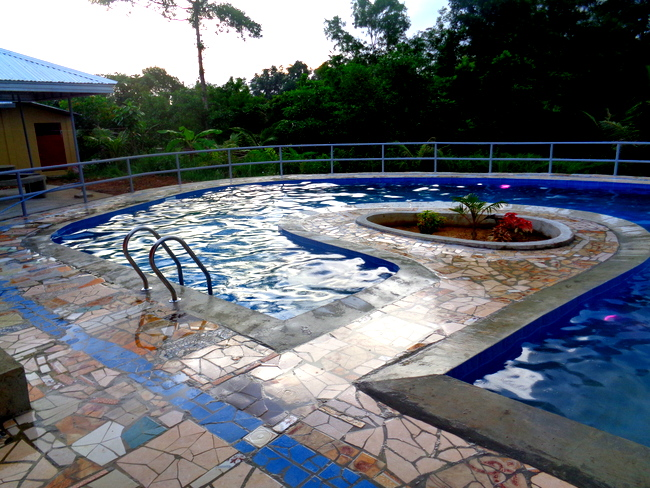 dusk falls on our new pool in the philippines