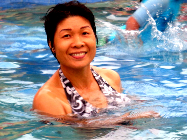 my lovely asawa having fun in our new pool in the philippines