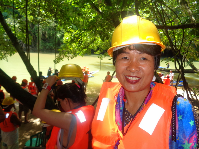 my lovely asawa dons a hardhat for underground river tour palawan