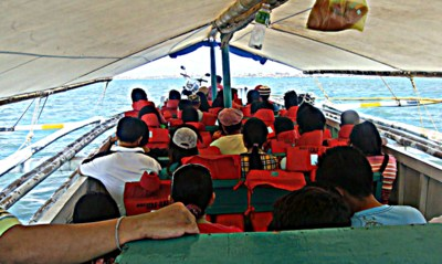 view from a pump boat iloilo to guimaras